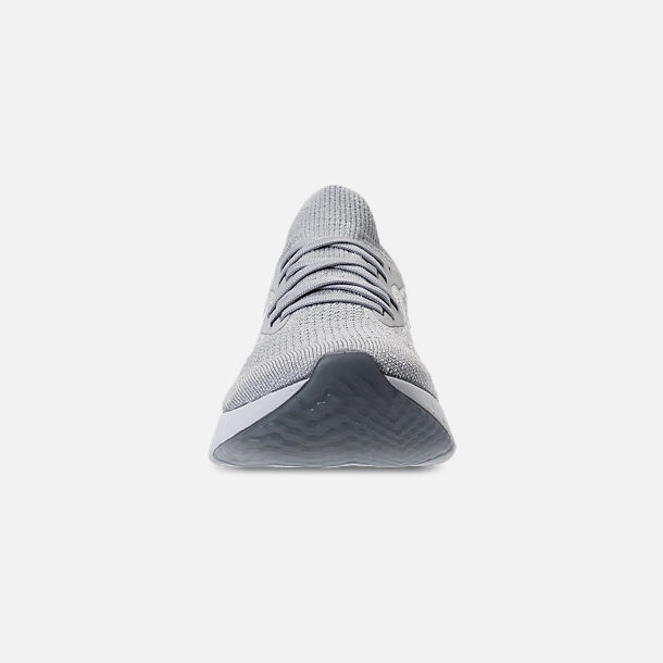 Front view of Women's Nike Epic React Flyknit Running Shoes in Wolf Grey/White/Cool Grey/Pure Platinum