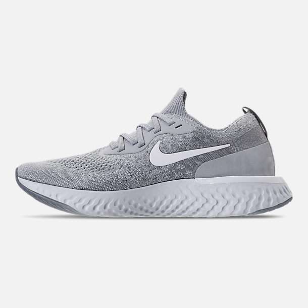 Left view of Women's Nike Epic React Flyknit Running Shoes in Wolf Grey/White/Cool Grey/Pure Platinum