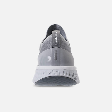 Back view of Women's Nike Epic React Flyknit Running Shoes in Wolf Grey/White/Cool Grey/Pure Platinum