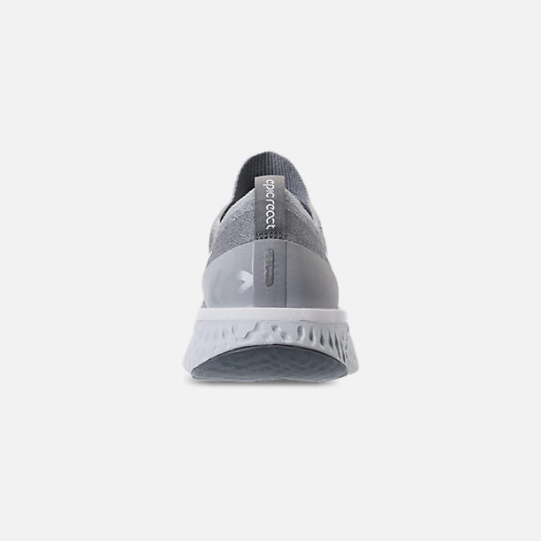 d7f1e2f5eacd1 Back view of Women s Nike Epic React Flyknit Running Shoes in Wolf  Grey White