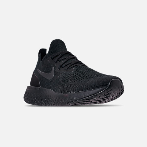 Three Quarter view of Women's Nike Epic React Flyknit Running Shoes in Black/Black/Black