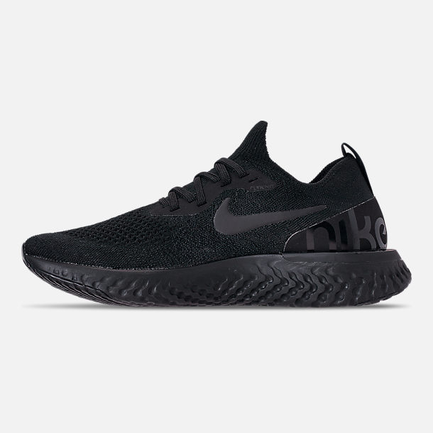 Left view of Women's Nike Epic React Flyknit Running Shoes in Black/Black/Black