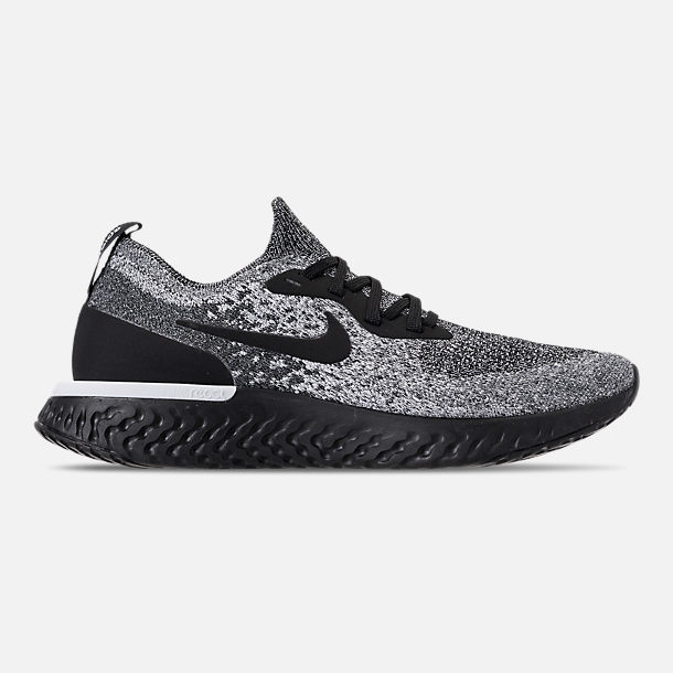 Right view of Women's Nike Epic React Flyknit Running Shoes in Black/Black/White