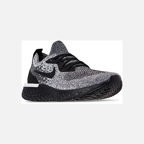 Three Quarter view of Women's Nike Epic React Flyknit Running Shoes in Black/Black/White