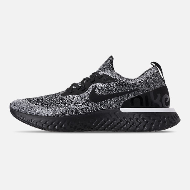 Left view of Women's Nike Epic React Flyknit Running Shoes in Black/Black/White