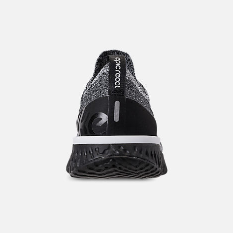 Back view of Women's Nike Epic React Flyknit Running Shoes in Black/Black/White