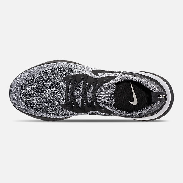 Top view of Women's Nike Epic React Flyknit Running Shoes in Black/Black/White
