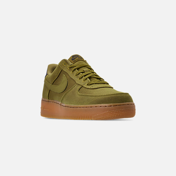 Three Quarter view of Men's Nike Air Force 1 '07 LV8 Style Casual Shoes in Camper Green/Camper Green/Gum Medium Brown