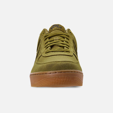 Front view of Men's Nike Air Force 1 '07 LV8 Style Casual Shoes in Camper Green/Camper Green/Gum Medium Brown