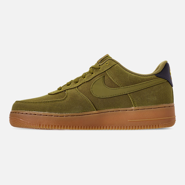 Left view of Men's Nike Air Force 1 '07 LV8 Style Casual Shoes in Camper Green/Camper Green/Gum Medium Brown