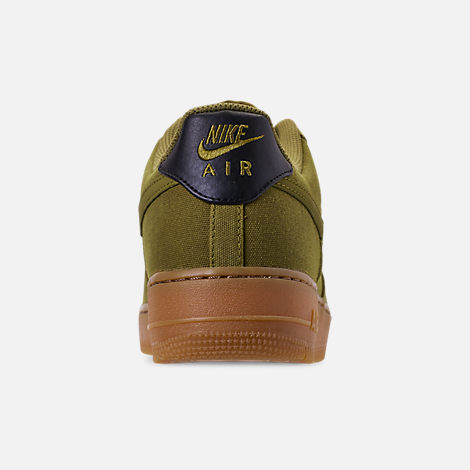 Back view of Men's Nike Air Force 1 '07 LV8 Style Casual Shoes in Camper Green/Camper Green/Gum Medium Brown