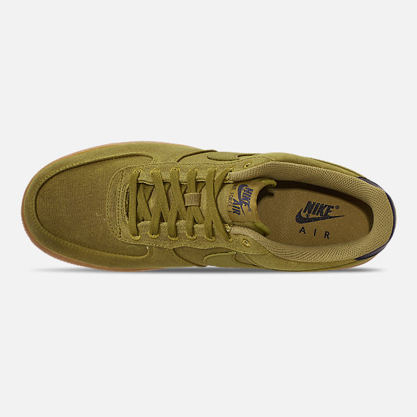 Top view of Men's Nike Air Force 1 '07 LV8 Style Casual Shoes in Camper Green/Camper Green/Gum Medium Brown