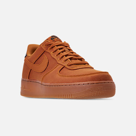 Three Quarter view of Men's Nike Air Force 1 '07 LV8 Style Casual Shoes in Monarch/Monarch/Gum Medium Brown/Black