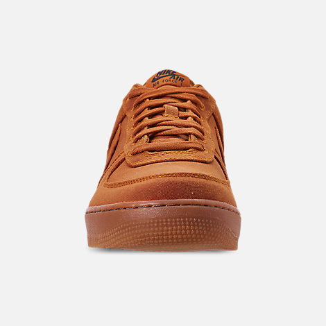 Front view of Men's Nike Air Force 1 '07 LV8 Style Casual Shoes in Monarch/Monarch/Gum Medium Brown/Black