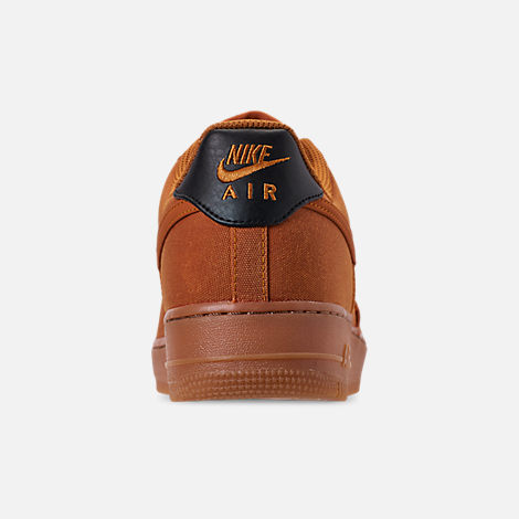Back view of Men's Nike Air Force 1 '07 LV8 Style Casual Shoes in Monarch/Monarch/Gum Medium Brown/Black
