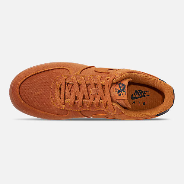 Top view of Men's Nike Air Force 1 '07 LV8 Style Casual Shoes in Monarch/Monarch/Gum Medium Brown/Black