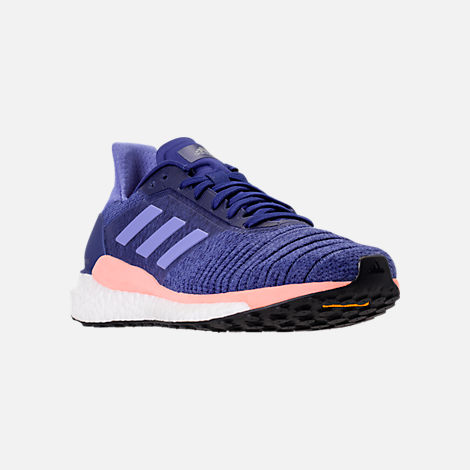 Three Quarter view of Women's adidas Solar Glide Running Shoes in Raw Grey/Real Lilac/Core Black