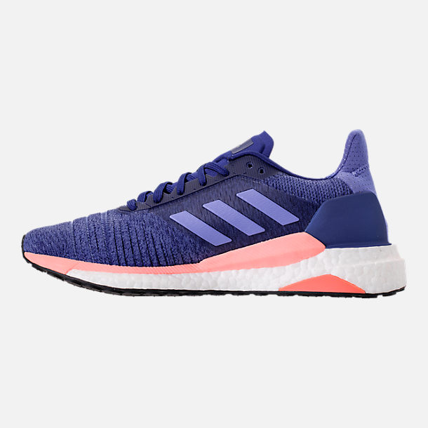 Left view of Women's adidas Solar Glide Running Shoes in Raw Grey/Real Lilac/Core Black
