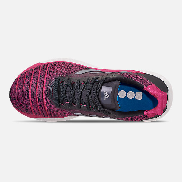 new style 6fb62 acdab Top view of Womens adidas Solar Glide Running Shoes in CarbonGrey  ThreeReal