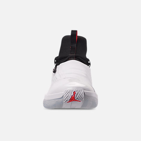 Front view of Men's Air Jordan Jumpman Hustle Basketball Shoes in White/Infrared 23/Black