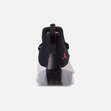Back view of Men's Air Jordan Jumpman Hustle Basketball Shoes in White/Infrared 23/Black