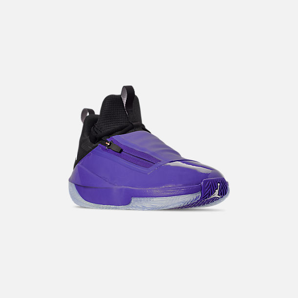 Three Quarter view of Men's Air Jordan Jumpman Hustle Basketball Shoes in Dark Concord/White/Black
