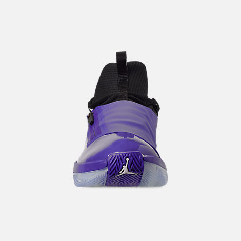 Front view of Men's Air Jordan Jumpman Hustle Basketball Shoes in Dark Concord/White/Black