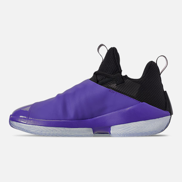 Left view of Men's Air Jordan Jumpman Hustle Basketball Shoes in Dark Concord/White/Black