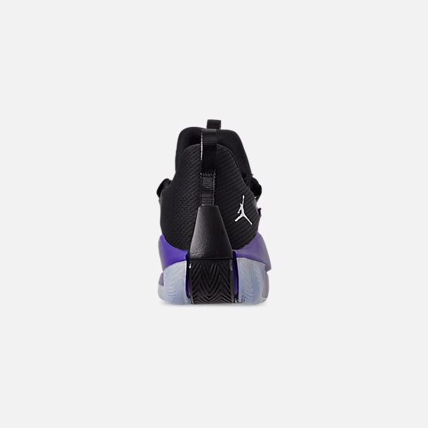 Back view of Men's Air Jordan Jumpman Hustle Basketball Shoes in Dark Concord/White/Black