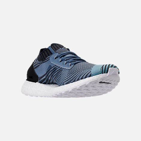 Three Quarter view of Women's adidas UltraBOOST X Parley Running Shoes in Raw Grey/Carbon/Legend Ink