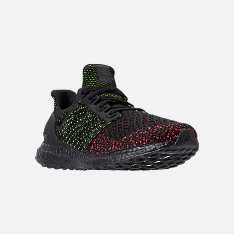Three Quarter view of Men's adidas UltraBOOST Clima Running Shoes in Core Black/Solar Red