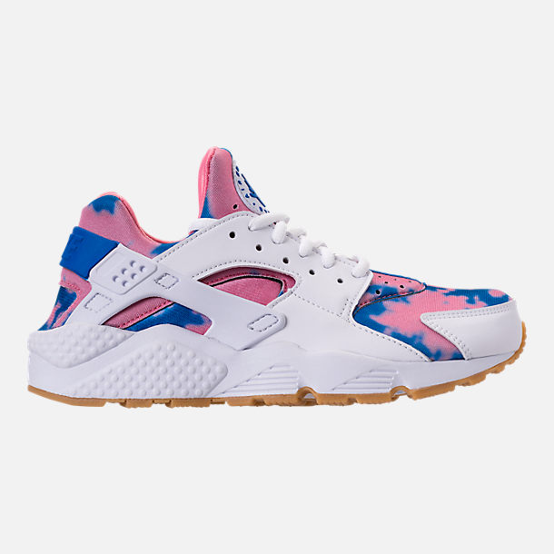 Right view of Women's Nike Air Huarache Run Print Casual Shoes in White/Blue Nebula/Coral