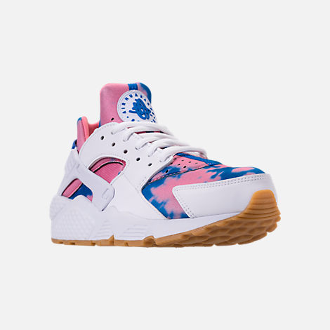 Three Quarter view of Women's Nike Air Huarache Run Print Casual Shoes in White/Blue Nebula/Coral