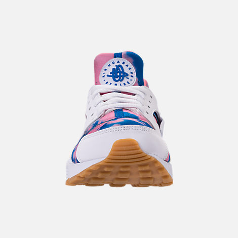 Front view of Women's Nike Air Huarache Run Print Casual Shoes in White/Blue Nebula/Coral