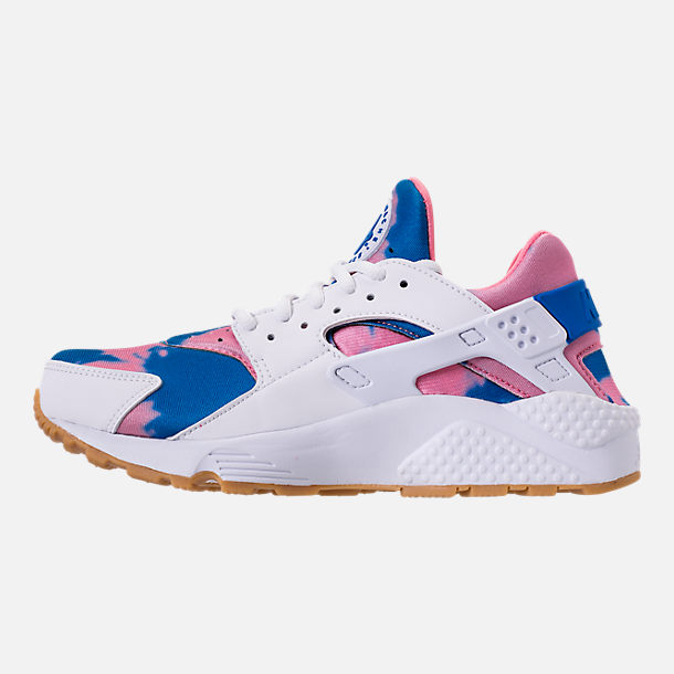Left view of Women's Nike Air Huarache Run Print Casual Shoes in White/Blue Nebula/Coral
