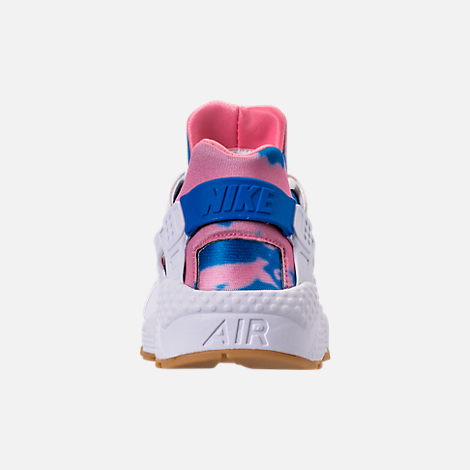 Back view of Women's Nike Air Huarache Run Print Casual Shoes in White/Blue Nebula/Coral