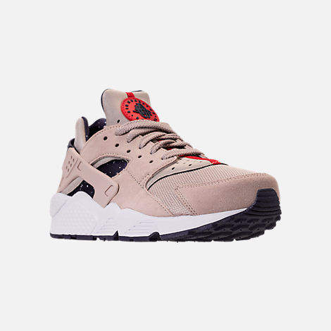 Three Quarter view of Men's Nike Air Huarache Run Casual Shoes in Moon Particle/Neutral Indigo/White