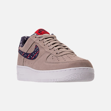 Three Quarter view of Men's Nike Air Force 1 Low Casual Shoes in Moon Particle/Neutral Indigo/White