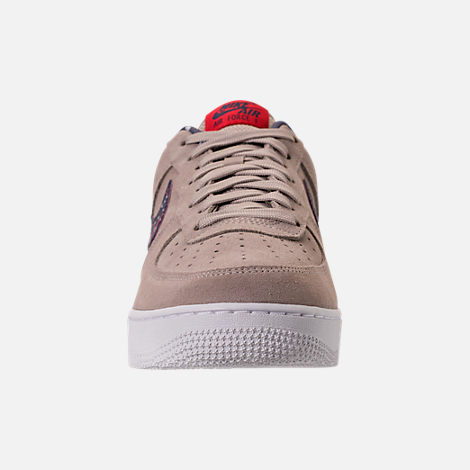 Front view of Men's Nike Air Force 1 Low Casual Shoes in Moon Particle/Neutral Indigo/White