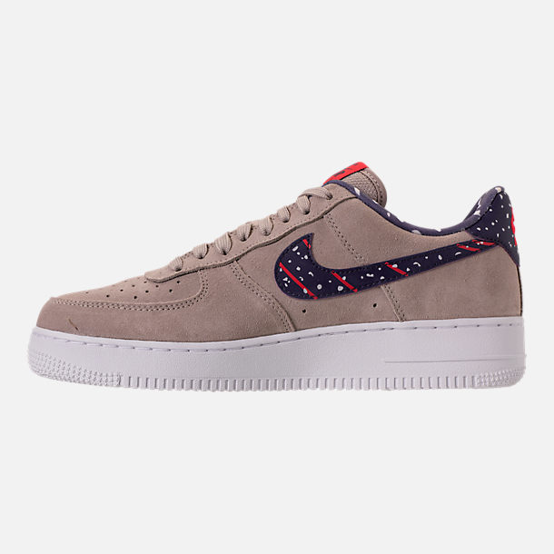 Left view of Men's Nike Air Force 1 Low Casual Shoes in Moon Particle/Neutral Indigo/White