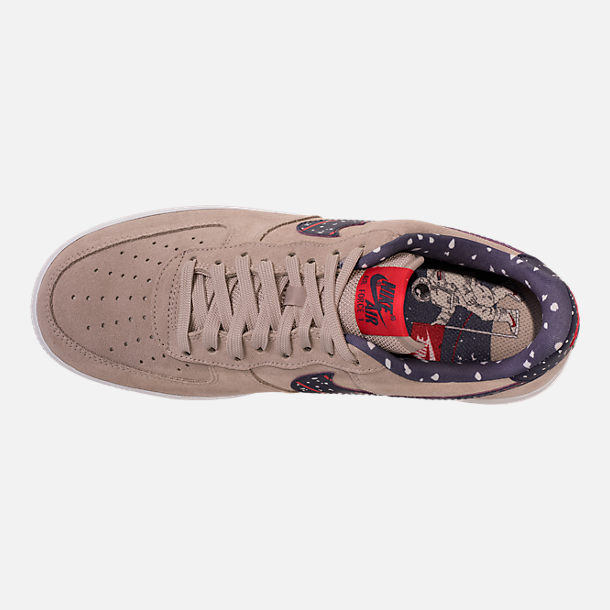 Top view of Men's Nike Air Force 1 Low Casual Shoes in Moon Particle/Neutral Indigo/White