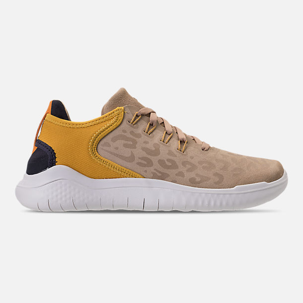 Right view of Women's Nike Free RN 2018 Wild Suede Running Shoes in Desert/Oil Grey/Yellow Ochre