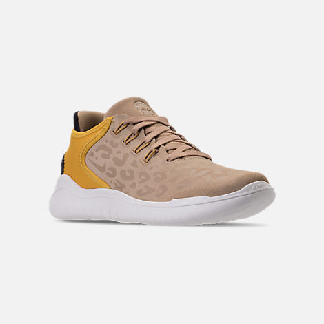 Three Quarter view of Women's Nike Free RN 2018 Wild Suede Running Shoes in Desert/Oil Grey/Yellow Ochre