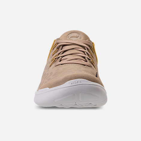 Front view of Women's Nike Free RN 2018 Wild Suede Running Shoes in Desert/Oil Grey/Yellow Ochre