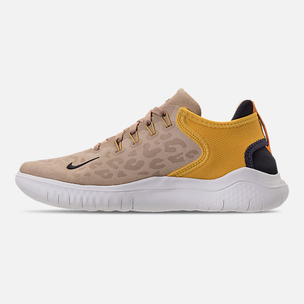 Left view of Women's Nike Free RN 2018 Wild Suede Running Shoes in Desert/Oil Grey/Yellow Ochre