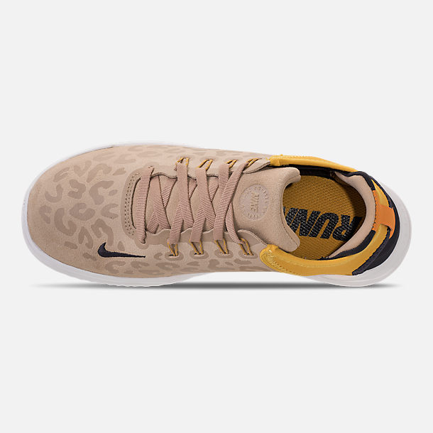 Top view of Women's Nike Free RN 2018 Wild Suede Running Shoes in Desert/Oil Grey/Yellow Ochre