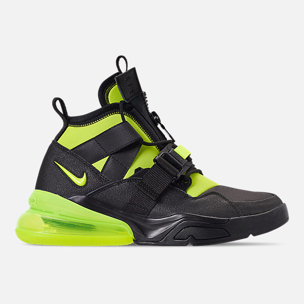 Right view of Men's Nike Air Force 270 Utility Off-Court Shoes in Black/Volt