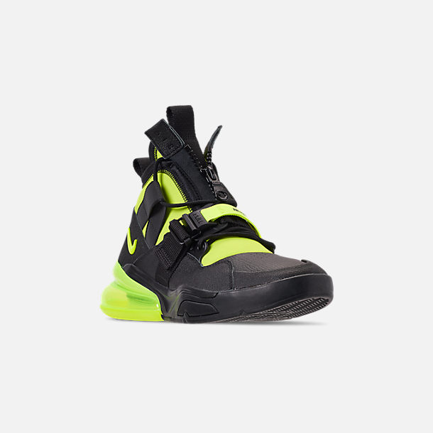 Three Quarter view of Men's Nike Air Force 270 Utility Off-Court Shoes in Black/Volt