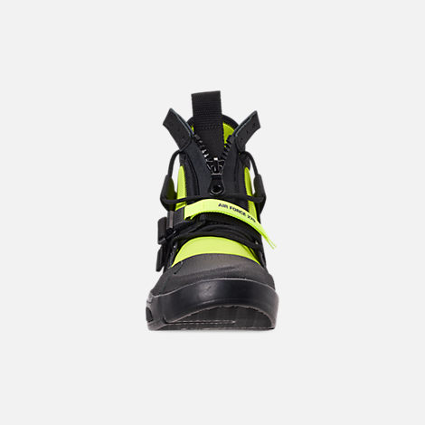 Front view of Men's Nike Air Force 270 Utility Off-Court Shoes in Black/Volt