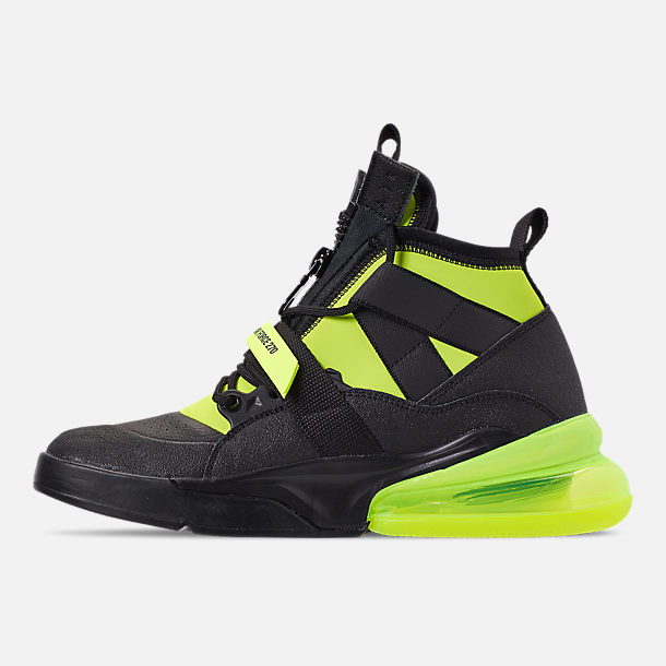 Left view of Men's Nike Air Force 270 Utility Off-Court Shoes in Black/Volt